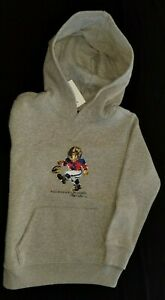 New Polo Ralph Lauren Kids football Bear logo grey sweatshirt hoodie Size MED