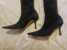 dda9d16cfd BEAUTIFUL JIMMY CHOO KNEE HIGH BLACK SUEDE HIGH HEEL BOOTS SIZE EUR 41 ITALY