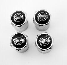 Chrome Volvo Black Top Wheel Valve Dust Caps. XC70 XC90 T5 S5 V40 S60