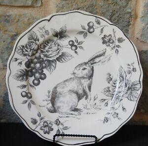 "maxcera Bunny Toile DINNER Plate  grey black 11.25"" ~ NWT ~ rabbit Easter"