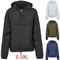 Women's Slim Hooded Solid Wind Breaker Jacket Outdoor Waterproof Rain Coat Sport