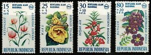 Indonesia 1966 National Disaster Fund - Floral Design-Set Of Four Stamps - MUH