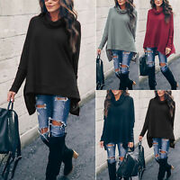Women Knit Long Sleeve Jumper Sweater Pullover Cowl Neck Irregular Batwing Tops