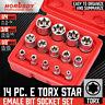 """14 Pcs E Torx Star Female Bit Socket Set 1/2"""" 3/8"""" 1/4"""" Drive E4 -E24 with Case"""