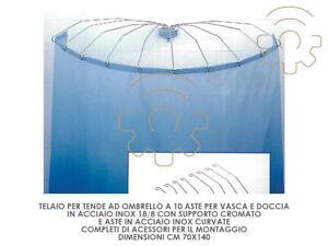 Telaio ad ombrello 10 aste per tende vasca doccia cm 70 x 140 acciaio inox