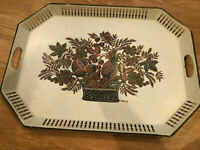 Mid Century Retro Fruit Bask metal serving large tray Maxey Folkart Art Mod Rare