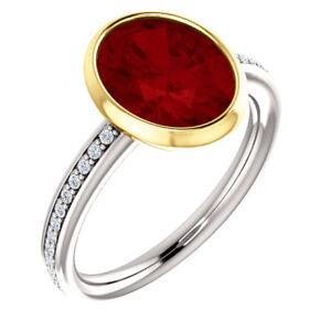 2.25Ct Garnet and Diamond Shoulder Set Engagement Ring in 9K White Gold Finish