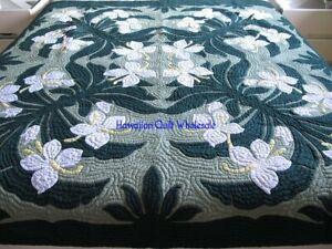 Hawaiian quilt bedspread handmade 100% hand quilted/appliquéd 2 Pillow Shams