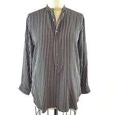 POLO Ralph Lauren Tunic XL Silk Blouse Maroon Black Stripes Banded Collar