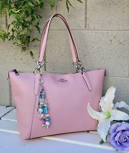 COACH 57526 AVA TOTE HANDBAG Shoulder Bag crossgrain leather satchel purse blush