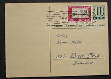 Schweiz 1960: Alte Ganzsache GA mit Beifrankatur v. Zürich n. Bad Ems