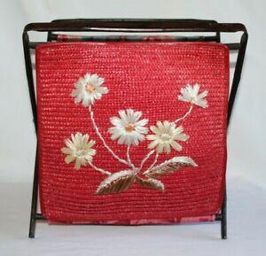 Vintage Red Basket Holder Tapestry Design Sewing Knitting Wooden Folding Frame