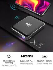 X3 Mini Projector 1080P Android/IOS Phone Home Cinema 3D 3200mAH Portable