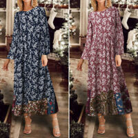Womens Retro Long Sleeve Floral Printed Dress Cocktail Party Kaftan Maxi Dresses