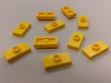 Bulk Lot Lego Part No.3794: Yellow Plate, Modified 1 x 2 & 1 Stud, Qty x 10