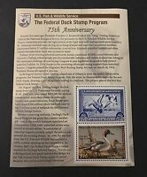 WTDstamps - #RW75C 2008 - Federal Duck Stamp - Mint OG NH *RW1 75th Anniversary*