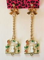 Betsey Johnson Crystal Rhinestone Enamel Cat Post Earrings