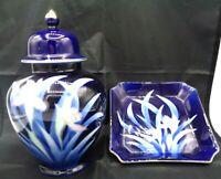 Asahi Japan Cobalt Blue Porcelain Ginger Jar & Trinket Dish Irises Floral Print