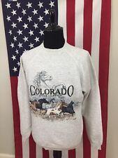 vtg Georgetown, Colorado Wild Horse Sweatshirt men's 2XL grey made in usa 3a472