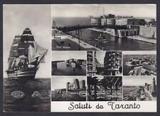 TARANTO CITTÀ 66 SALUTI da... VEDUTINE Cartolina FOTOGRAFICA viaggiata 1953
