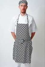 Black And White Check Bib Apron Catering Cooking Professional Chef Aprons