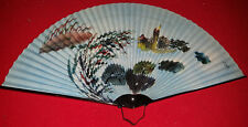 Japanese - Chinese Traditional Handheld Folding Fan - Black With Geese Pictures
