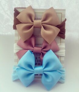 Baby Headbands 3 Bows 3 inches Set Soft Stocking Tan Blue Rose Nylon