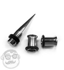 1 Gauge (1G - 7mm) Steel Taper & Pair Of Steel Tunnel Plugs - Ear Stretching Kit