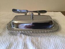 VINTAGE IRVINWARE CHROME PLATED BUTTER DISH W/GLASS INSERT W/BUTTER SPREADER