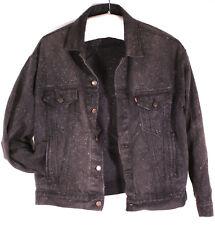 Vintage Levi's Denim Jacket Speckled Faded Black Xl Trucker Jeans Usa