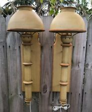 Two 1970's Cottage Chic Speckle Paint Metal Sconce Plug In Wall Light Lamps 30'