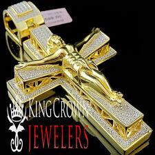 10K YELLOW GOLD SILVER BIG CUSTOM PIECE JESUS CRUCIFIX CROSS PENDANT CHARM 3.5''