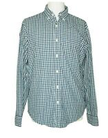 J. Crew Men's Casual Blue Green Gingham Plaid Button Down Shirt  sz L Slim Fit
