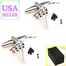 Hot Sale Men Cufflinks Four Aces Cards Poker Cuff Links With Gift Box