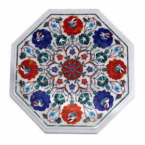 "15"" Marble Corner Table Top Semi Precious Stones Inlay Handmade Home Decor"