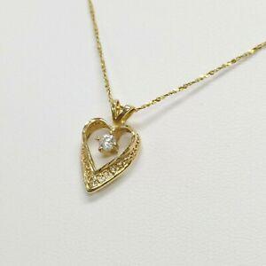 "14k Yellow Gold - CZ Heart Pendant Necklace - Short 14"" Chain - 1.9 Grams"