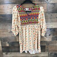 Umgee Women's Tan Aztec Floral Button Front Boho Peasant Tunic Size Medium