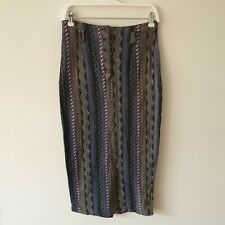 Vtg Blue Grey Stripe Woven Cotton Midi Maxi Pencil Skirt S Long Back Split Boho