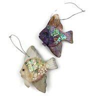 Vtg Lot Of 2 Handmade Paper Mache Angel Fish Ornaments Sequins Glitter Purple