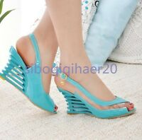 Fashion Ladies Peep Toe Patent Leather Ankle Strap Wedge Heels Sandal Shoes Size