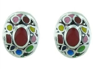 Sterling Silver Simulated Multi-Color Earrings