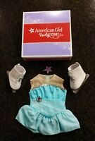 *American Girl* sparkly skating set ice skates guards star hair clip LKNW $44-