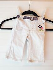 Old Navy White Toddler stretch jeans, size 6-12 months, flowers on pocket