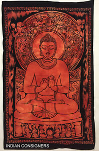 Beautiful Wall Hanging Orange Color Buddha Lord Small Cotton Tapestry Poster Art