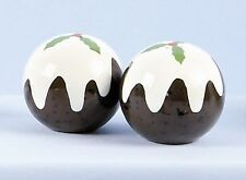 Christmas Pudding Ceramic Salt & Pepper Shakers Cruet Set NEW