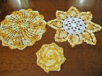 Trio of Vintage hand crocheted orange/ivory round  doilies