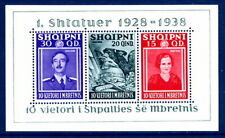 ALBANIA 1938 Accession of King Zog Anniversary block LHM / *