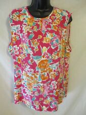 Chaps Viscose Petite, Plus Size Casual Pink Floral Tank Tops SR $49-55 NEW
