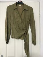 H&M Green Shirt Size 12 Women Long Sleeve Great Condition (F64)