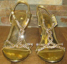 Pre-owned Marichi Mani Gold Metallic Rhinestone 4 Inch High Heels Shoes Size 7.5